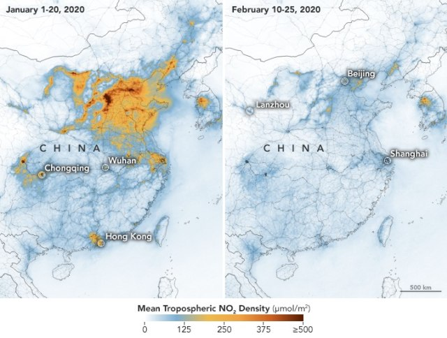 Beda kadar polusi di China sebelum dan sesudah pandemi virus corona. Foto: Dok. Joshua Stevens/Copernicus Sentinel 5P/ESA.