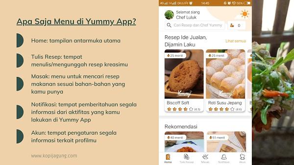 Apa saja menu pada aplikasi Yummy App?
